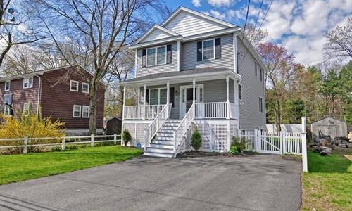 Detached White Colonial - front of property with porch