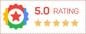 5.0 Rating for Reviews badge