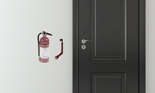 black door shown with fire extinguisher on wall