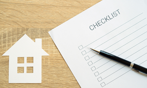 Graphic showing small house and a checklist with a pen on it.