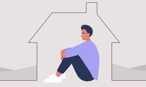 drawing of man sitting alone inside an outline of a house