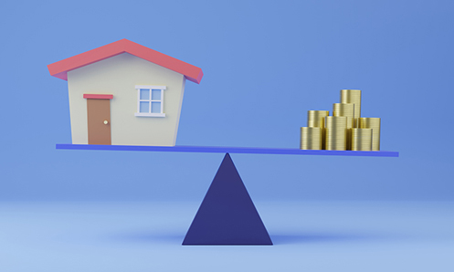 A graphic drawing of a board balancing on a dark blue triangle shape with a home on the left and a pile of gold coins on the right; the board is tipping a little toward the coins.