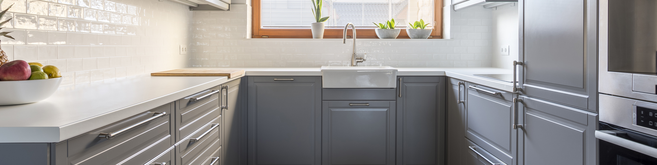 spring image - modern kitchen with gray cabinets, white counters, fruit bowl on counter and plants on the window over the sink
