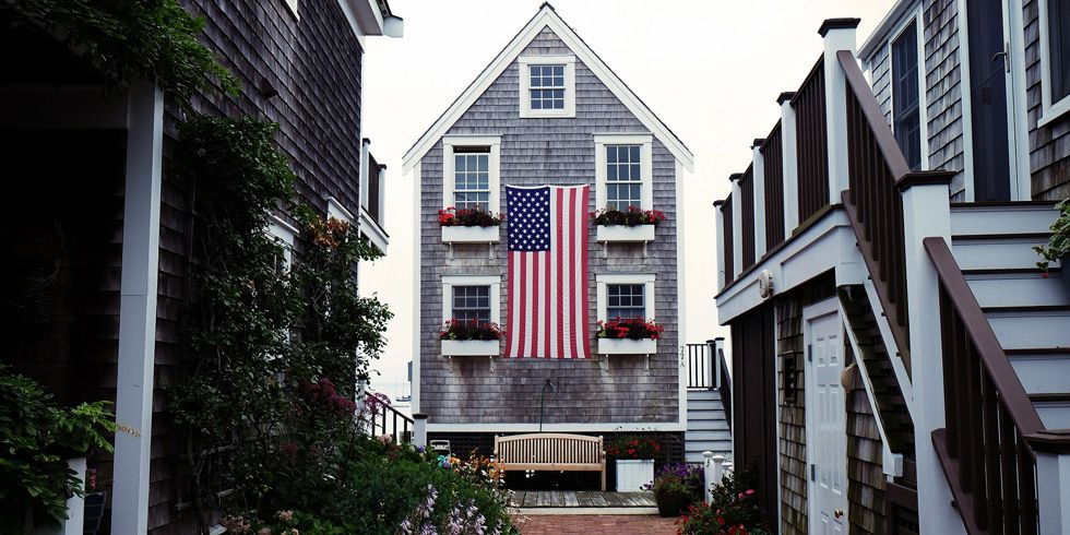 beach cottage with American flag