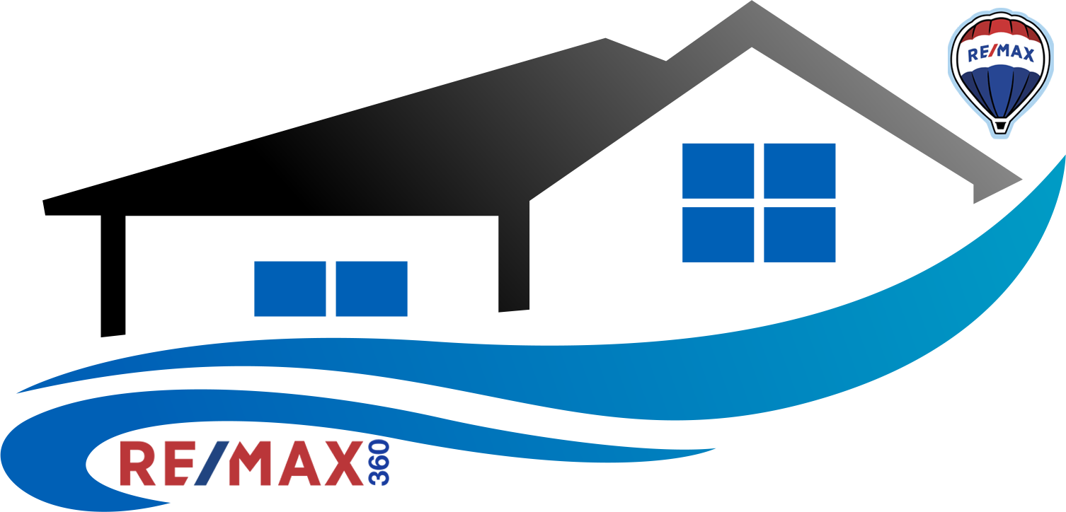 roof tops with blue swishes, REMAX balloon and REMAX 360 word logo