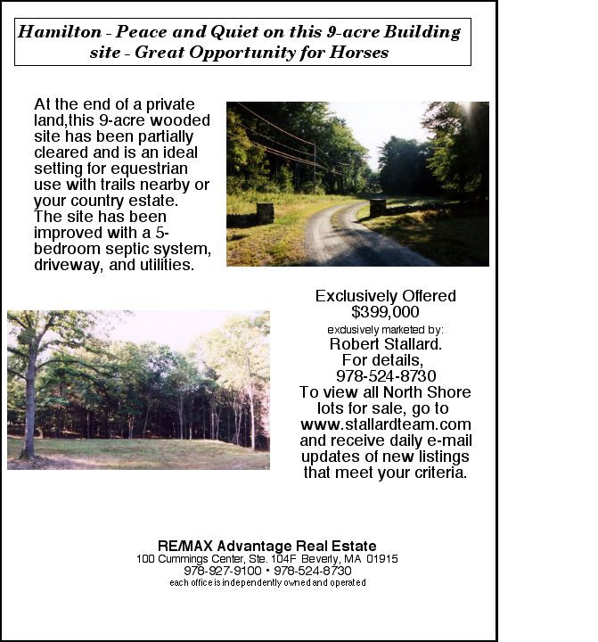 Hamilton  Private 9 Acre Building site offers peace and quite, great opportunity for esquestrian use. Exclusive $399,000
