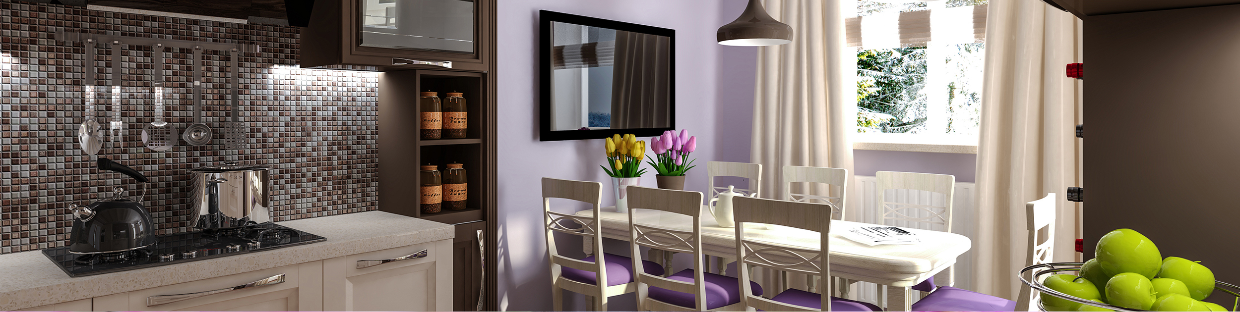 pretty kitchen with purple wall and tulips on table