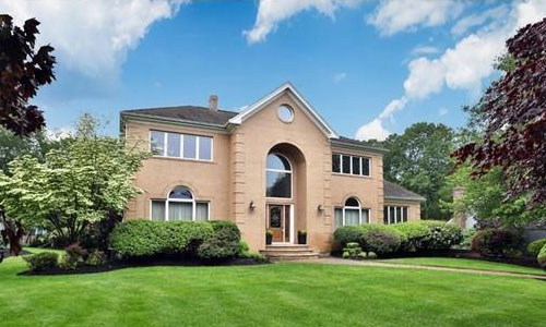 Detached Beige Colonial, Contemporary - front of property with beautiful landscape
