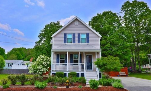 Detached Light Gray Colonial - front of property with covered porch