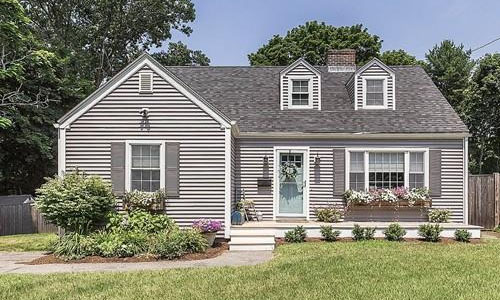 Detached Gray Cape - front of property shown