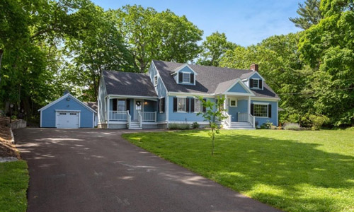 Detached Blue Colonial, Cape for sale in North Reading, MA - exterior of property shown