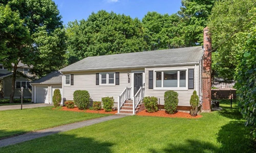 Detached Beige Ranch for sale in Andover, MA - exterior of property shown