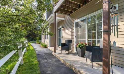 Low Rise garden style condo for sale in North Reading, MA - exterior of property shown