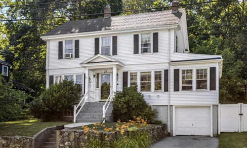 Detached White Colonial for sale in North Reading, MA - exterior of property shown
