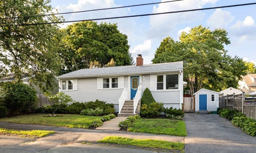 Detached Gray Ranch for sale in Lynn, MA - exterior of property shown