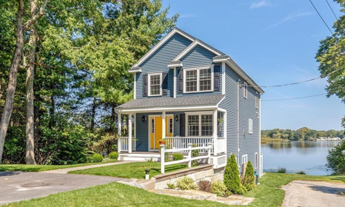 Detached Blue Colonial for sale in North Reading, MA - exterior of property shown