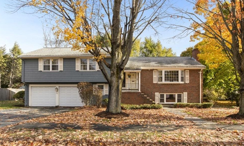 Four bedroom contemporary home for sale in Reading, MA - exterior of home shown