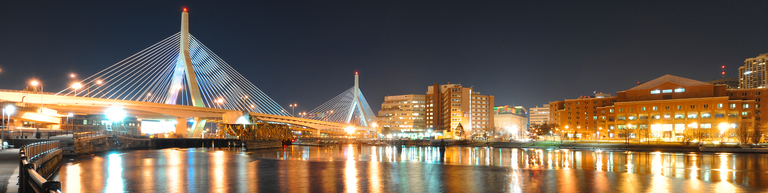 view of the Lenny Zakim bridge in Boston MA at night