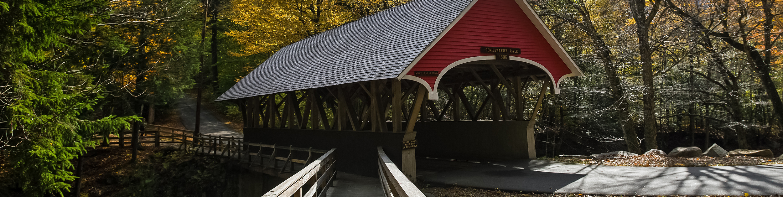 small covered bridge in New Hampshire labelled Pemigewasset River 1886