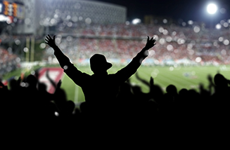 Person Cheering at Sports Game