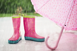 Childs Rubber Boots in Rain
