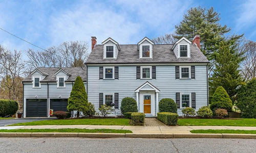 Detached Grey Colonial for sale in Newton MA - exterior of home shown
