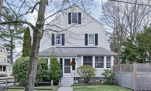 five bedroom colonial for sale in Newton MA - exterior of property shown