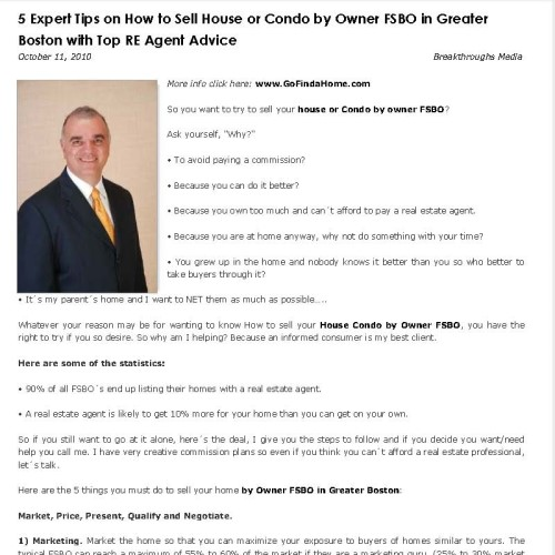 5 Expert Tips on How to Sell House or Condo by Owner FSBO in Greater Boston