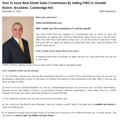 How To Save Real Estate Sales Commission By Selling FSBO in Greater Boston, Brookline, Cambridge MA
