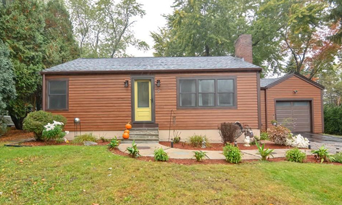 Detached Brown Contemporary Ranch for sale in Westborough, MA - exterior of home shown