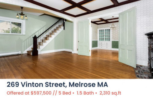 Featured Home for Sale - 269 Vinton Street, Melrose MA