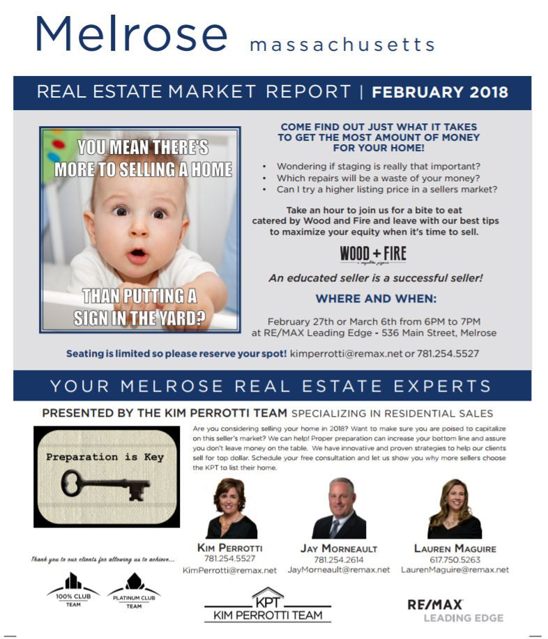 Melrose MA Real Estate Market Report - February 2018 p1 - The Kim Perrotti Team - RE/MAX Leading Edge
