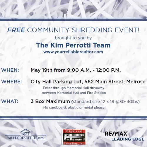 Free shredding event - The Kim Perrotti Team - RE/MAX Leading Edge