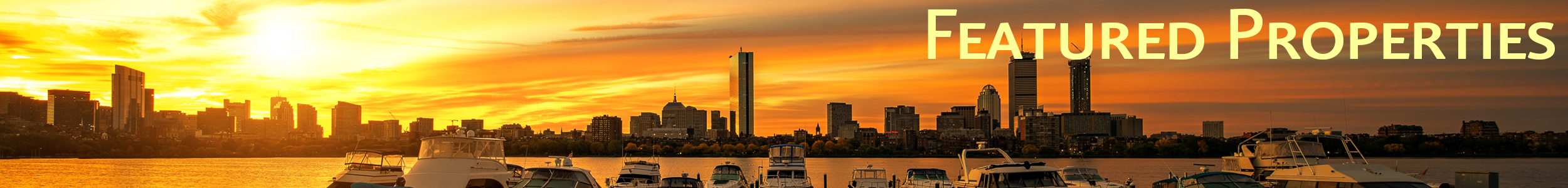 Boston harbor with Featured Properties are on a bright green background