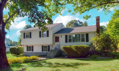 three bedroom multi level home for rent in Framingham, MA - exterior view of home shown