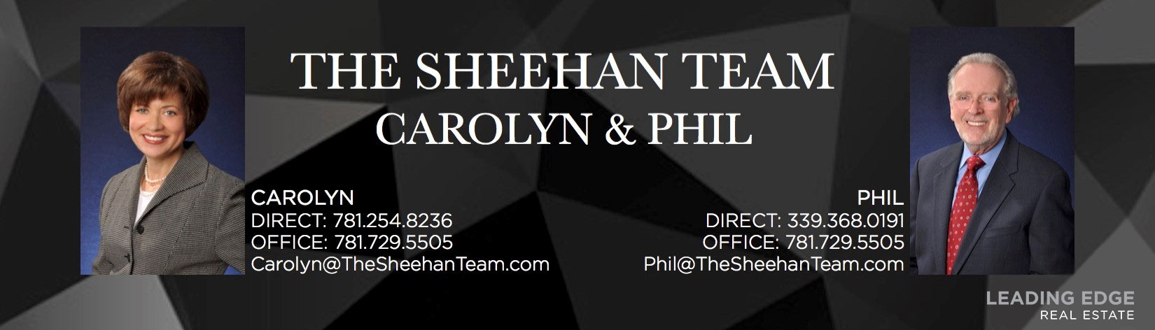 Carolyn and Phil Sheehan, The Sheehan Team, of Leading Edge Real Estate work with buyers and sellers in Massachusetts.