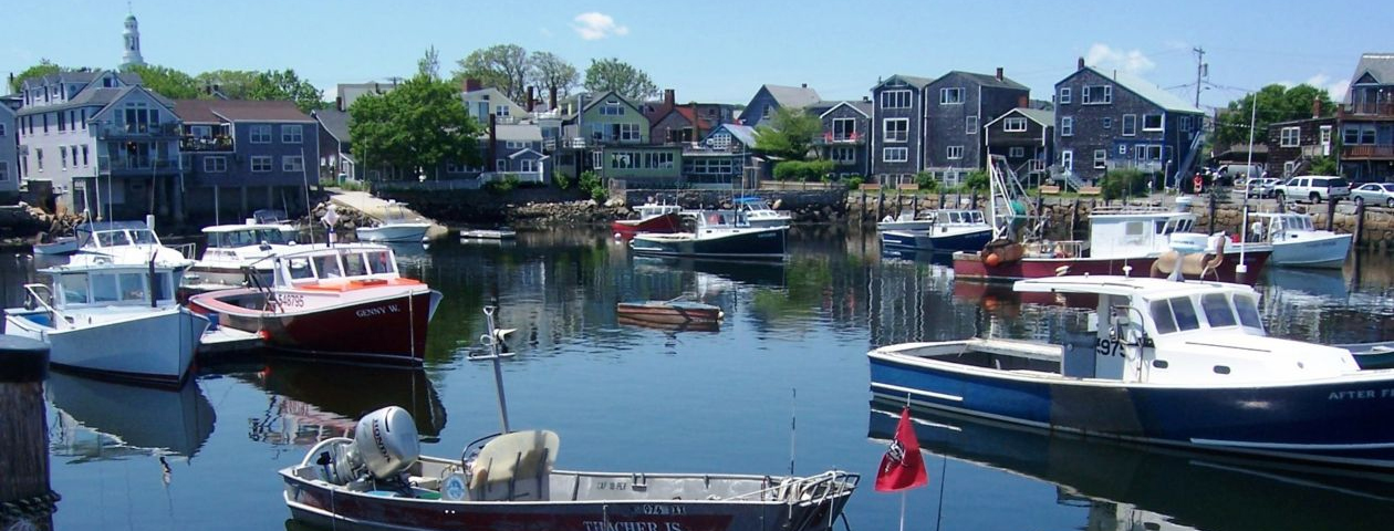 boats in the ocean at Rockport, MA