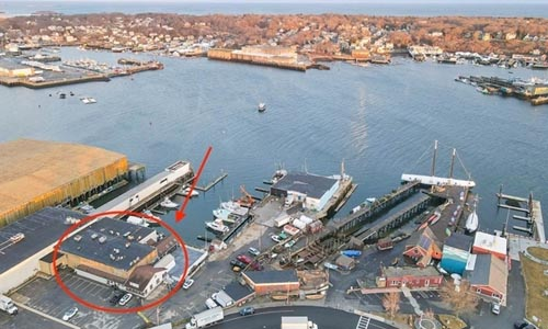 restaurant for sale is circled in red in Gloucester Harbor Loop
