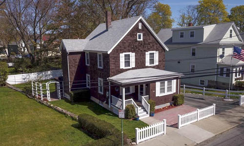 Detached Brown Colonial for sale in East Gloucester MA - exterior of home shown