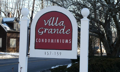 Mid Rise garden style condo sold in Stoneham, MA - exterior of property shown